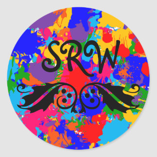 Multicolor Paint Splatter Monogram Sticker