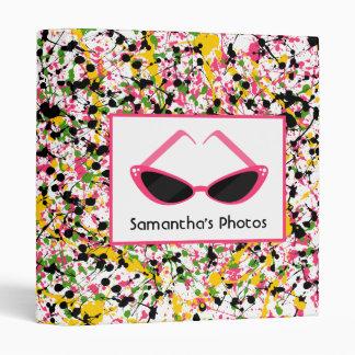 Multicolor Paint Splatter & Retro Pink Sunglasses Vinyl Binder