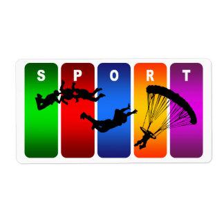 Multicolor Parachuting Emblem Shipping Label