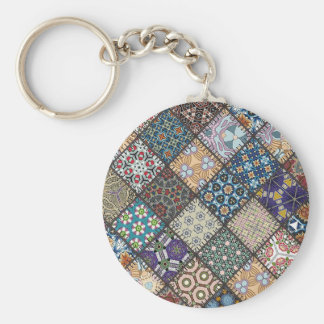Multicolor patchwork pattern Gift Item Basic Round Button Keychain