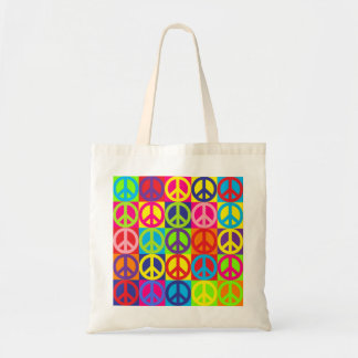 Multicolor Peace Tote Bag