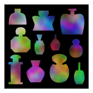 Multicolor Perfume Bottles. Poster