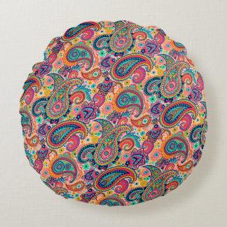 Multicolor Pink Orange Blue Paisley Pattern Round Pillow