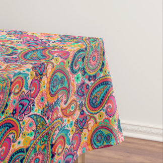 Multicolor Pink Orange Blue Paisley Pattern Tablecloth