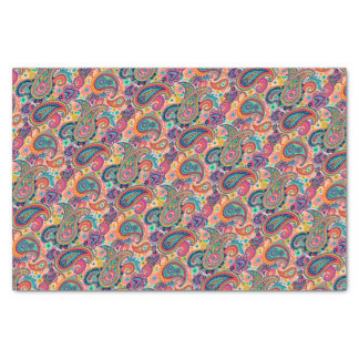 Multicolor Pink Orange Blue Paisley Pattern Tissue Paper
