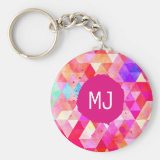 Multicolor Pink Watercolor Triangle Pattern Keychain