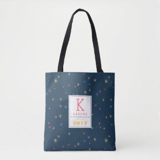 Multicolor Pom Poms | Personalized Graduation Tote