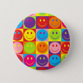 Multicolor Pop Smileys 2 Inch Round Button
