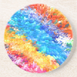 Multicolor Psychedelic Abstract Drink Coaster