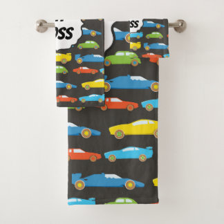 Multicolor Race Cars on Black Personalized Bath Towel Set