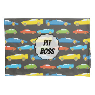 Multicolor Race Cars on Black Personalized Pillowcase