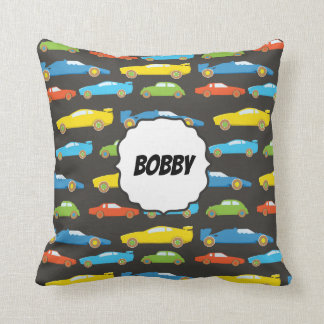 Multicolor Race Cars on Black Personalized Throw Pillow