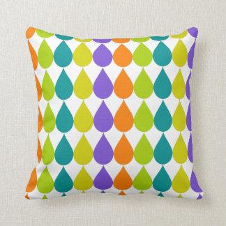 Multicolor Raindrops3 Graphic Throw Pillow
