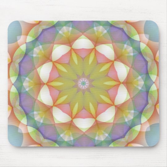 Multicolor Scalloped Flower Kaleidoscope Mouse Pad