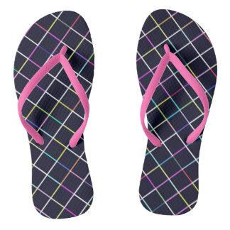 Multicolor Square Lined Pattern Flip Flops
