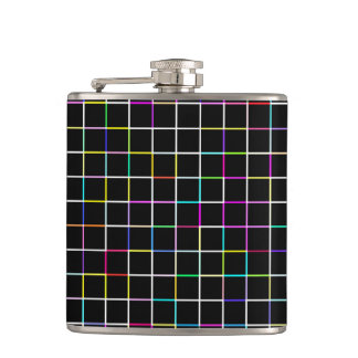 Multicolor Square Lined Pattern Hip Flask