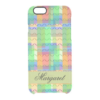 Multicolor squares, chevron pattern, monogram clear iPhone 6/6S case