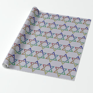 Multicolor Star of David Holiday Wrapping Paper
