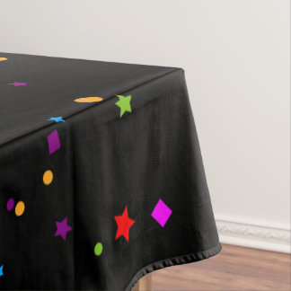 Multicolor Stars on Black Tablecloth
