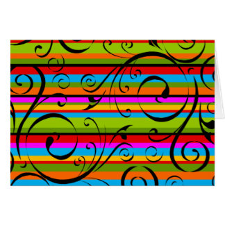 Multicolor Stripe Flourish Card