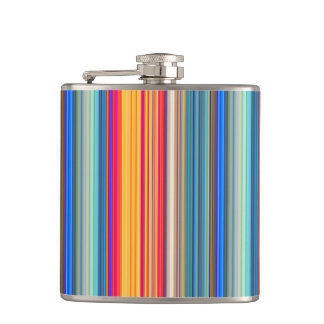 Multicolor Striped Pattern Hip Flask