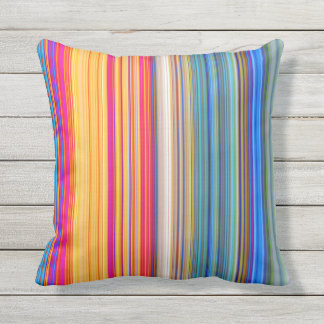 Multicolor Striped Pattern Outdoor Pillow