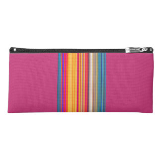 Multicolor Striped/Pink Pattern Pencil Case