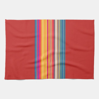 Multicolor Striped/Red Pattern Kitchen Towel