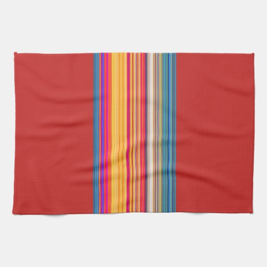 Multicolor Striped/Red Pattern Kitchen Towels
