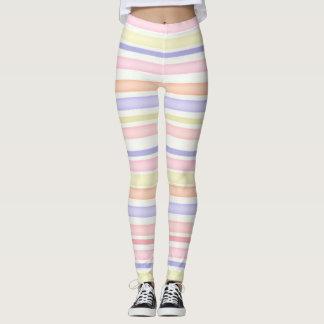 Multicolor stripes design watercolor leggings
