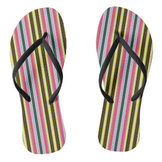 Multicolor Stripes Flip Flops