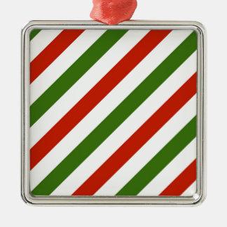 Multicolor Stripes Metal Ornament