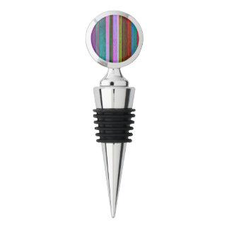 Multicolor stripes on chrome wine stopper