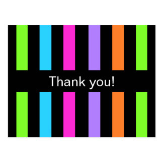 Multicolor Stripes Thank you Postcard
