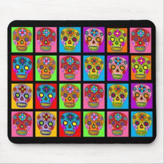 Multicolor Sugar Skull Squares Mouse Pad