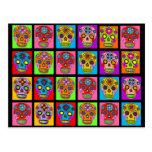 Multicolor Sugar Skull Squares Postcard