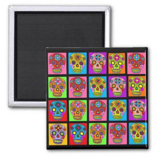 Multicolor Sugar Skull Squares Square Magnet