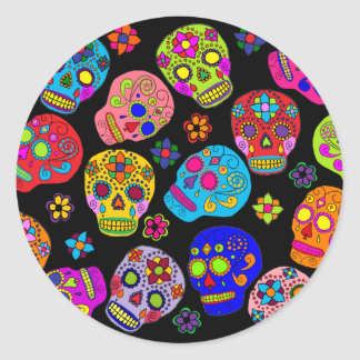 Multicolor Sugar Skulls Round Sticker