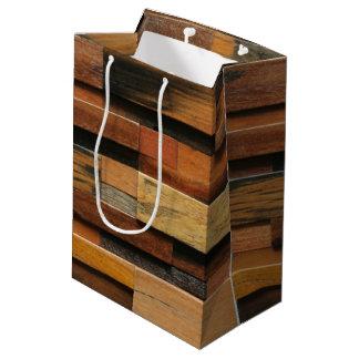 Multicolor Textured Wood Collage Medium Gift Bag