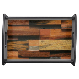 Multicolor Textured Wood Collage Serving Tray