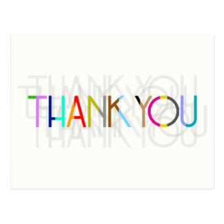 Multicolor Thank You Typography Postcard