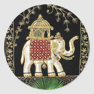 Multicolor Thread and Zari Embroidered Royal Eleph Classic Round Sticker