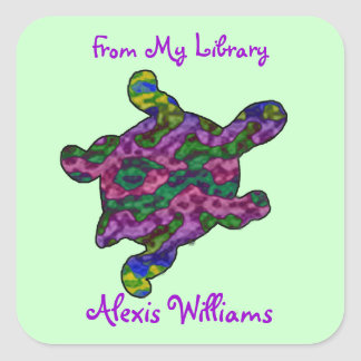 Multicolor Turtle Child's Bookplate Stickers