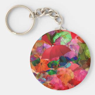 Multicolor umbrellas basic round button keychain