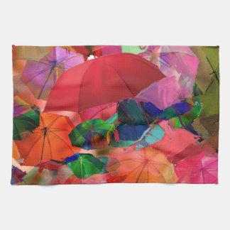 Multicolor umbrellas hand towel