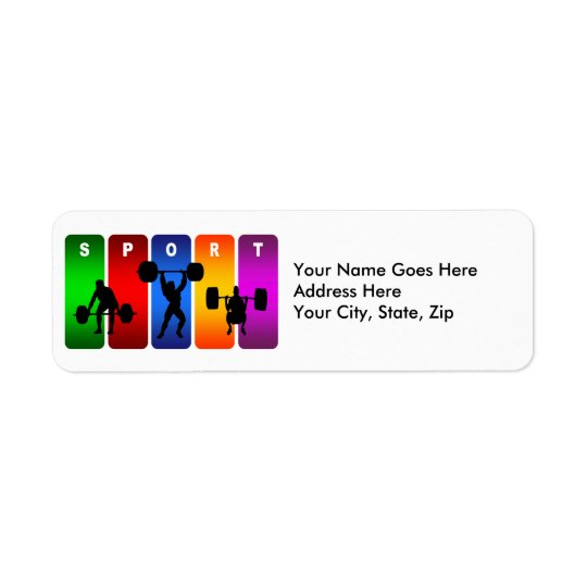 Multicolor Weight Lifting Emblem Return Address Label