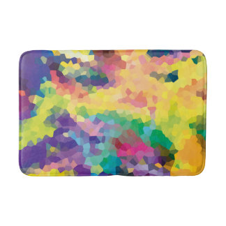 Multicolored Abstract Crystals Geometric Pattern Bath Mat