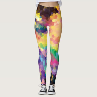 Multicolored Abstract Crystals Geometric Pattern Leggings