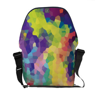 Multicolored Abstract Crystals Geometric Pattern Messenger Bag