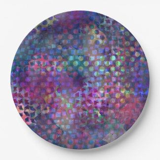 Multicolored Abstract Digital Art 9 Inch Paper Plate